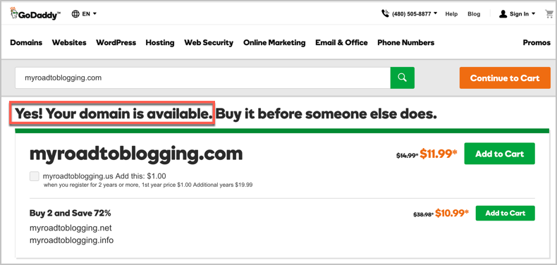 Checking the availability of domain in GoDaddy while you choose a brand name