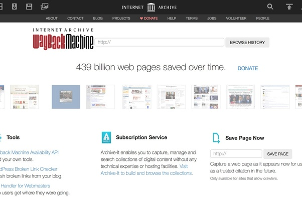archive website that lets you know of content that had been published earlier
